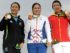 Aug 20, 2016; Rio de Janeiro, Brazil; Silver medalist Lydia Ko (NZL), left, gold medalist Inbee Park (KOR), and bronze medalist Shanshan Feng (CHN) show off their medals after competing in the final round of women's golf during the Rio 2016 Summer Olympic Games at Olympic Golf Course. Mandatory Credit: Michael Madrid-USA TODAY Sports